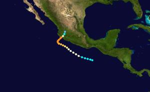 1959 Mexico hurricane - Image: 1959 Mexico hurricane track