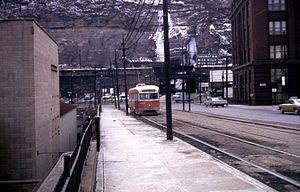 Mount Washington Transit Tunnel - Northern exit of tunnel in 1968 showing site of both accidents