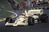 Thierry Boutsen in the Arrows A8 at the 1985 European Grand Prix