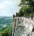 19870827160NR Königstein Festung Königstein Südmauer mit Wachturm.jpg