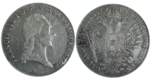 1 Thaler silver coin with portrait of Emperor Franz I, 1820 (Source: Wikimedia)
