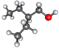 3D ball-and-stick structure of 2-ethyl-1-butanol