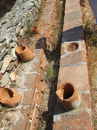 Hypocaust - Wall flues for hot air circulation.