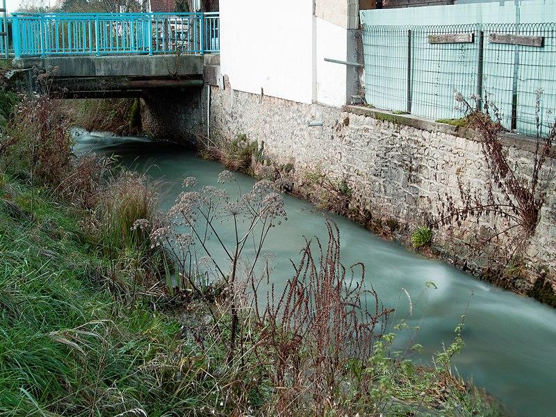 This file was uploaded  with Commonist.    Cours d'eau à Fesches-le-Châtel. Photo prise avec un filtre ND16.