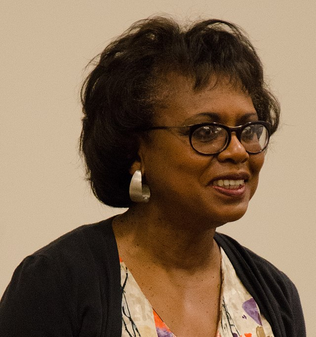From commons.wikimedia.org: 2014 Anita Hill (cropped to shoulders) {MID-198037}