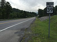 2017-07-24 09 05 45 View west along West Virginia State Route 39 (Arbuckle Road) at U.S. Route 19 in Summersville, Nicholas County, West Virginia.jpg
