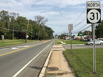 Pennington, New Jersey - Route 31 is the primary state highway serving Pennington
