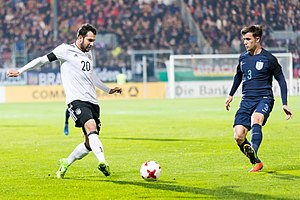 Levin Öztunalı - Öztunalı (left) in action for Germany against England U21 in 2017.