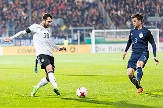 Levin Öztunalı - Öztunalı (left) in action for Germany against England U21 in 2017.