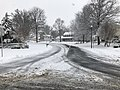 2018-03-21 10 23 11 View south along a slushy Thorngate Drive (Virginia State Route 6849) at Franklin Farm Road (Virginia State Route 6819) in the Franklin Farm section of Oak Hill, Fairfax County, Virginia.jpg