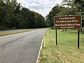 2019-09-09 13 35 27 View northwest along the Clara Barton Parkway at the exit for Carderock (Carderock Division, Naval Surface Warfare Center) in Potomac, Montgomery County, Maryland.jpg