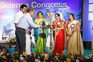 Kerala Science Congress - Dr T Ramaswamy, former secretary, Department of Science and Technology, Govt. of India lighting the lamp during the inaugural session of 27th Kerala Science Congress