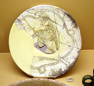 Digenes Akritas - Digenes Akritas and the dragon. 13th century Byzantine dish.