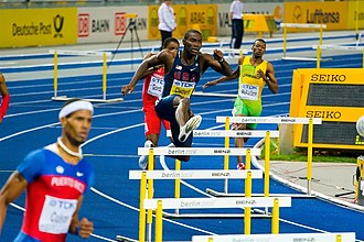 Hurdling - Kerron Clement running the 400 m hurdles in Berlin, 2009 (at center)