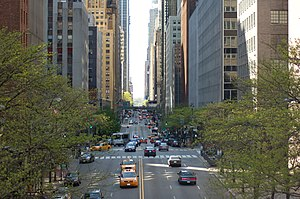 Street canyon - The same street seen from within, with many buildings much taller than the width of the road