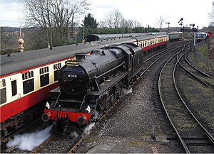 Severn Valley Railway - LMS Stanier Class 5 4-6-0 No.45110 with at Bridgnorth railway station on the re-opening date of 21 March 2008. The locomotive carries a headboard commemorating the re-opening.