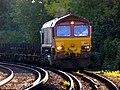66107 Dollands Moor to Scunthorpe 4E26 empty steel (30093024406).jpg