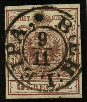 Česká Lípa - Austrian KK stamp first issue 1850 cancelled BÖHM. LEIPA
