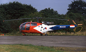 Deelen Air Base - Aérospatiale Alouette III in special markings for the 75th Anniversary of the Royal Netherlands Air Force at Deelen in 1988.