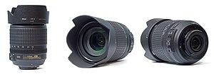 AF-S DX Nikkor 18-105mm f/3.5-5.6G ED VR - Three views of the lens with hood.