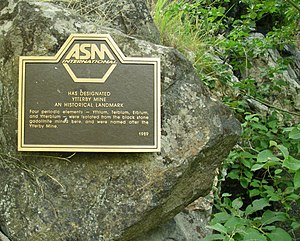 Trivial name - A plaque commemorating a mine in Ytterby where ore was obtained from which four new elements were isolated.