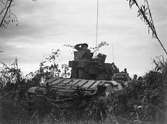 Huon Peninsula campaign - Matilda tanks from the Australian 1st Tank Battalion move up towards the fighting, 17 November 1943