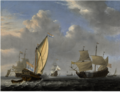 A STATES YACHT FROM THE ADMIRALTY OF AMSTERDAM, BEFORE A MODERATE BREEZE, MEETING A TWO-DECKER.png
