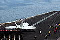 A U.S. Navy F-A-18E Super Hornet aircraft attached to Strike Fighter Squadron (VFA) 31 prepares to take off from the aircraft carrier USS George H.W. Bush (CVN 77) in the Persian Gulf June 30, 2014 140630-N-CZ979-031.jpg