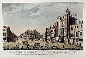 Pall Mall, London - A View of St James's Palace, Pall Mall etc by Thomas Bowles, published 1763. This view looks east. The gatehouse of St James's Palace is on the right.