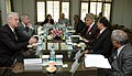 A delegation led by the Minister of Foreign Affairs of the Republic of Lithuania, Mr. Vygaudas Usackas calls on the Union Minister of New and Renewable Energy, Dr. Farooq Abdullah, in New Delhi on December 03, 2009.jpg