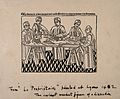 A dissection scene, with five attending figures. Line block Wellcome V0010410.jpg