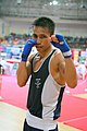 A jubilant P Narjit Singh of India posing for media after defeating Korea Republic's Jang Kwan Sik in Men's 51-54 Kg Boxing in semi-final in the 4th Military World Games 2007 at Gachibowli Boxing Stadium, Hyderabad.jpg
