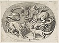 A lion, dragon and fox fighting each other, an inscribed banderole above, an oval composition MET DP818727.jpg