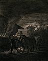 A nocturnal scene with a stable on fire and a stablemate res Wellcome V0041884.jpg