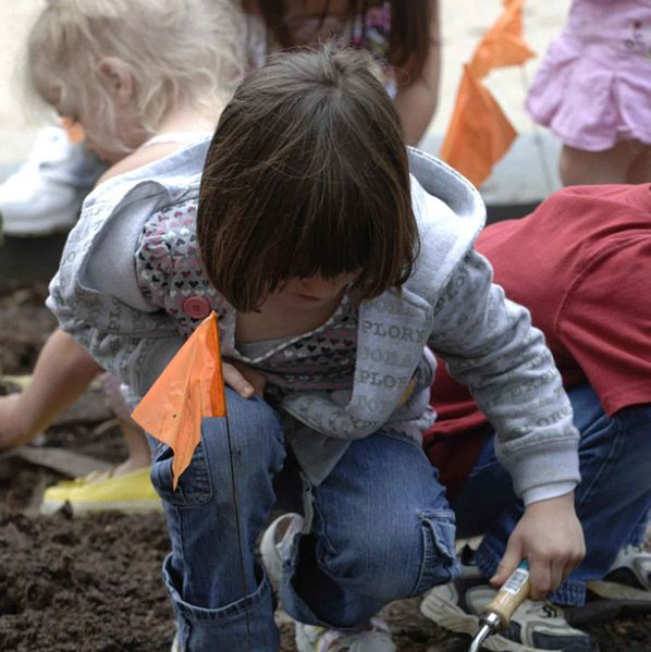 File:A young girl uses a trowel to dig a hole for plants in the pollinator garden.jpg