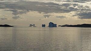 Aasiaat - Icebergs stranded in the waterways of the Aasiaat archipelago, Greenland, near the Aasiaat harbor