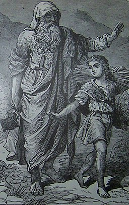 Abraham going up to offer Isaac as a sacrifice