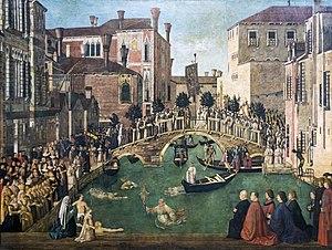 Miracle of the Cross at the Bridge of S. Lorenzo - Image: Accademia Miracolo della reliquia della Croce al ponte di San Lorenzo Gentile Bellini cat.568