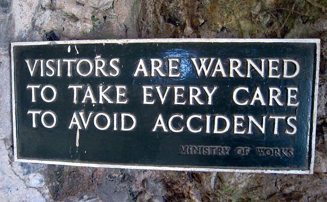 Visitors are warned to take every precaution to avoid accidents