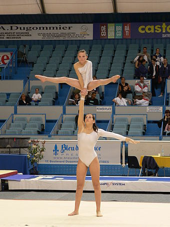 Acrobatic Women's Pair performing a skill. Acro-tcd.JPG