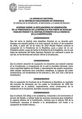 2019 Venezuelan presidential crisis - Agreement approved by the National Assembly to declare the usurpation of the presidency by Nicolás Maduro on 15 January.
