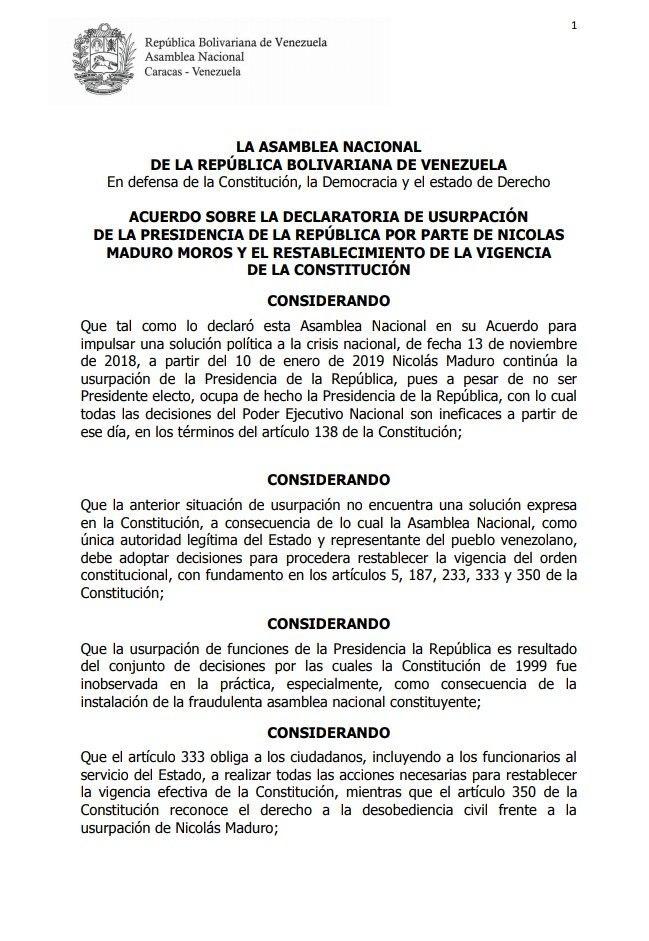 Acuerdo sobre la declaratoria de usurpación de la presidencia de la república por parte de Nicolas Maduro Moros y el restablecimiento de la vigencia de la constitución - Página 1