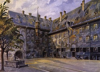 Adolf Hitler's wealth and income - The Courtyard of the Old Residency in Munich, painting by Hitler from 1914