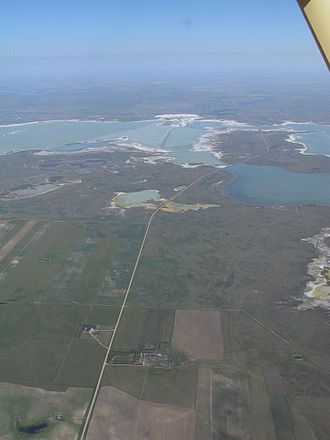 Rural Municipality of Chaplin No. 164 - Aerial view of Sk Hwy 58 through Chaplin Lake