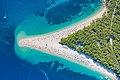 Aerial view of Zlatni rat (Golden Horn) Beach in Bol, Croatia (48608813081).jpg