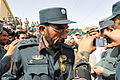 Afghan National Police Col. Jilani Khan, left, the chief of security for Zabul province, accepts a medal from Gen. Gamil Jumbush, the chief of the Afghan Public Protection Force, during a ceremony in Zabul 130818-A-FD969-203.jpg