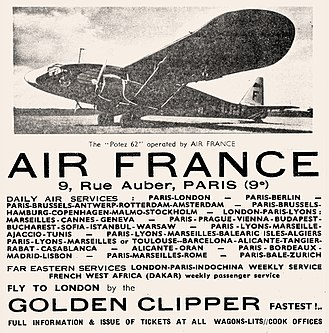 Air France - 1936 Air France ad for service using Potez 62 twin-engine aircraft.