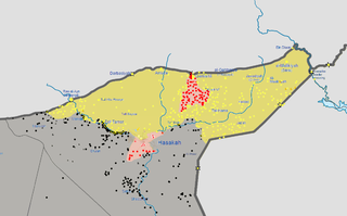 Al-Hasakah Governorate farthest ISIL advance, mid-April 2015