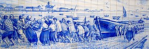 "Siglas poveiras - Representation of Siglas Poveiras in an Azulejo. The picture represents ""Ala-arriba!"", pushing a boat to the beach by the community."