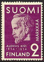 Aleksis Kiven muistopostimerkki vuodelta 1934. Piirtänyt Germund ...